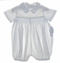 NEW Sophie Dess White Cotton Romper with Blue Smocking
