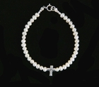 NEW Tiny White Pearls with Sterling Cross Bracelet for Babies, Toddlers, and Little Girls