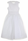 NEW Us Angels White Organdy Dress with Diagonal Tucked Bodice