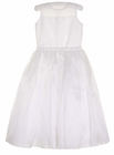 NEW Us Angels White Organdy Dress with Illusion Neckline and Magnolia Flower Accent