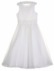 NEW Us Angels White Satin Dress with Organdy Overlay Skirt and Beaded Waistband