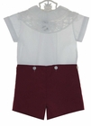 """<img src=""""https://p11.secure.hostingprod.com/@grammies-attic.com/ssl/images/blue-sold-1.gif""""> NEW Victorian Heirlooms Burgundy Cotton Button On Shorts Set with Battenburg Lace Collar"""