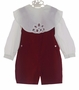 "<img src=""https://p11.secure.hostingprod.com/@grammies-attic.com/ssl/images/blue-sold-1.gif""> NEW Victorian Heirlooms Dark Red Velvet Shortall with Back Belt and Battenburg Lace Trimmed Collar"