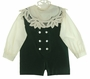 "<img src=""https://p11.secure.hostingprod.com/@grammies-attic.com/ssl/images/blue-sold-1.gif""> NEW Victorian Heirlooms Green Velvet Romper with Ivory Battenburg Trimmed Portrait Collar"
