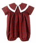 "<img src=""https://p11.secure.hostingprod.com/@grammies-attic.com/ssl/images/blue-sold-1.gif""> NEW Victorian Heirlooms Red Plaid Romper with Double Portrait Collar"