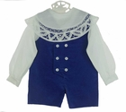 """<img src=""""https://p11.secure.hostingprod.com/@grammies-attic.com/ssl/images/blue-sold-1.gif""""> NEW Victorian Heirlooms Royal Blue Velvet Double Breasted Shortall Set with Battenburg Lace Trimmed Collar"""