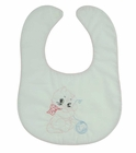 NEW White Bib with Pink Trim and Vintage Style Kitten Embroidery