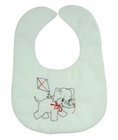 """<img src=""""https://p11.secure.hostingprod.com/@grammies-attic.com/ssl/images/blue-sold-1.gif""""> NEW White Bib with Vintage Style Elephant Embroidery"""