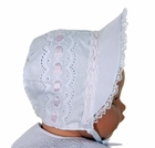 NEW White Bonnet with Lace Trimmed Brim, closed orOpen Crown and Pink Ribbon Insertion