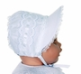 NEW White Bonnet with Lace Trimmed Brim, Closed or Open Crown and White Ribbon Insertion