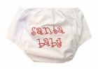 NEW White Buttoned Diaper Cover with Santa Baby Embroidery