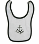 NEW White Cotton Knit Sailor Bib with Anchor and US Navy Embroidery