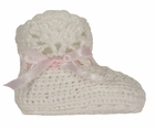 NEW White Crocheted Booties with Pink Ribbon Insertion