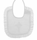NEW White Dotted Bib with Celtic Cross Embroidery and Ruffled Trim and Soft Flannel Back
