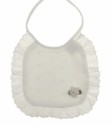 NEW White Eyelet Bib with White Ribbon Rose Trim