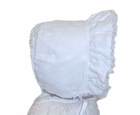 NEW White Eyelet Bonnet with Organdy Edged Face Ruffle