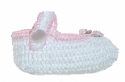 "<img src=""https://p11.secure.hostingprod.com/@grammies-attic.com/ssl/images/blue-sold-1.gif""> NEW White Hand Crocheted Mary Jane Style Baby Booties with Pink Trim"