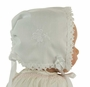 """<img src=""""https://p11.secure.hostingprod.com/@grammies-attic.com/ssl/images/blue-sold-1.gif"""">  NEW White Keepsake Hanky Bonnet with Shamrock Embroidery and Cluny Lace Trim"""
