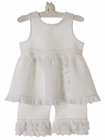 NEW White Linen Ruffled Pantaloon Set with White Eyelet Trim