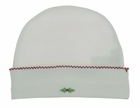 NEW Baby Threads White Pima Cotton Knit Hat with Holly Embroidery