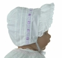 NEW White Pintucked Bonnet with Eyelet Trim and Lavender Satin Ribbon