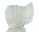 NEW White Pintucked Bonnet with Eyelet Trim and Yellow Satin Ribbon