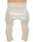 NEW White Ruffle Bottom Rhumba Tights for Babies
