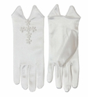 NEW White Satin Gloves with Venice Lace Cross Applique