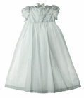 NEW White Scalloped Eyelet Trimmed Christening Gown and Bonnet