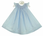 NEW Will'Beth Blue Cotton Smocked Bishop Smocked Dress with Angel Sleeves