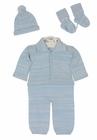 NEW Will'Beth Blue Knit Sweater Set with Matching Hat and Socks