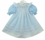 "<img src=""https://p11.secure.hostingprod.com/@grammies-attic.com/ssl/images/blue-sold-1.gif""> NEW Will'Beth Blue Long Sleeved Dress with White Bishop Smocked Pinafore"