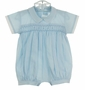 NEW Will'Beth Blue Smocked Romper and Hat Set with White Trim
