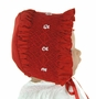 NEW Will'Beth Dark Red Smocked Bonnet with Embroidered Flowers
