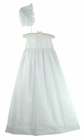 NEW Will'Beth Elegant White Linen Sleeveless Christening Gown and Bonnet with Openwork, Embroidery, and Seed Pearls