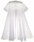 NEW Will'Beth Embroidered Christening Gown with Pintucks and Lace Insertion with Long Straight or Gathered Sleeves