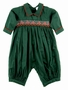 NEW Will'Beth Green Smocked Romper with Red Trim