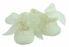 NEW Will'Beth Ivory Christening Shoes with Lace Trim and Ribbon Roses