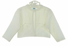 NEW Will'Beth Ivory Delicate Cotton Knit Sweater with Openwork, Bows, and Seed Pearls