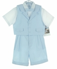 """<img src=""""https://p11.secure.hostingprod.com/@grammies-attic.com/ssl/images/blue-sold-1.gif""""> NEW Will'Beth Light Blue and White Three Piece Shorts Set with Bowtie"""