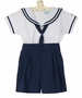 NEW Will'Beth Navy and White Cotton Button on Sailor Shorts Set