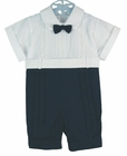 """<img src=""""https://p11.secure.hostingprod.com/@grammies-attic.com/ssl/images/blue-sold-1.gif"""">  NEW Will'Beth Navy and White Pintucked Romper with Lace Insertion"""