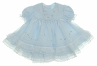 NEW Will'Beth Pale Blue Baby Dress with Lace, Ribbons, Embroidery, and Seed Pearls