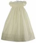 NEW Will'Beth Pearl White Silk Smocked Christening Gown with Pintucks and Matching Smocked Bonnet