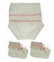 NEW Will'Beth Pink and White Cotton Knit Diaper Cover and Booties Set