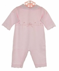 NEW Will'Beth Pink Cotton Knit Romper with Embroidered Rosebuds