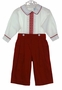 NEW Will'Beth Red and White Pants Set with Embroidered Trim