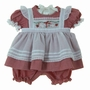 "<img src=""https://p11.secure.hostingprod.com/@grammies-attic.com/ssl/images/blue-sold-1.gif""> NEW Will'beth Red Checked Pinafore Style Pantaloon Set with Holiday Embroidery"