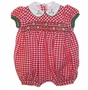 "<img src=""https://p11.secure.hostingprod.com/@grammies-attic.com/ssl/images/blue-sold-1.gif""> NEW Will'Beth Red Checked Smocked Baby Bubble with White Embroidered Collar"