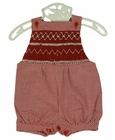 NEW Will'Beth Red Checked Smocked Sunsuit